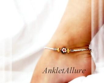 Ebony/Ivory Cloisonne Anklet Fusion Silver Anklet Gold Ankle Bracelet