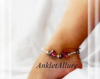 Romantic Heart To Heart Anklet Crystal Amethyst Ankle Bracelet Pearl Ankle Bracelet