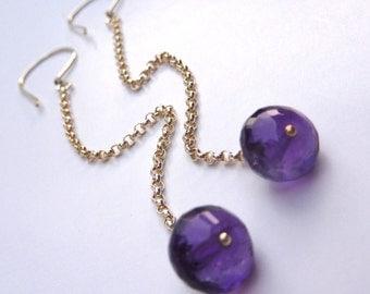 SALE. February Birthstone. Long and Dangly Amethyst Drop Earrings in Sterling Silver
