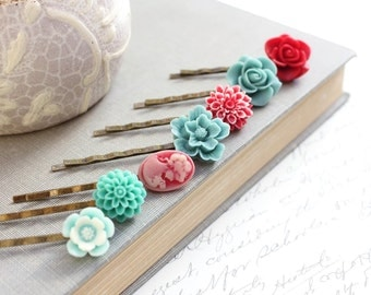 Red Rose Bobby Pins Teal Turquoise Aqua Blue Hair Accessories Lady Face Cameo Chrysanthemum Flower Hair Slides Birthday Gift Vintage Style