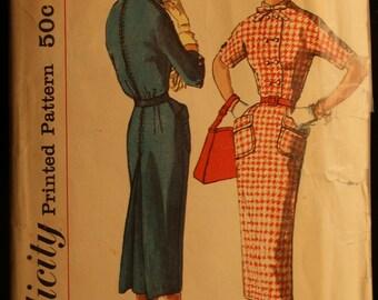Simplicity 2259 Misses One-Piece Slim Dress Vintage 50s Sewing Pattern Sz 14