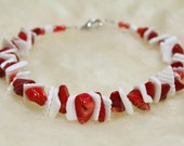 Coral and shell bracelet - red corals - white shell chips - natural gemstones - made in Israel