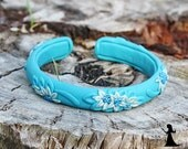 Boho Style Floral filigree polymer clay bangle - turquoise blue tiny flowers - polymer clay cuff with tiny flowers - made in Israel