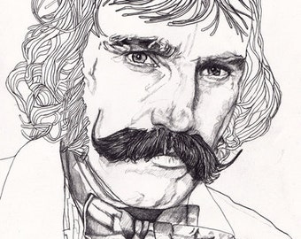 BUTCHER Original Unique Signed Paul Nelson-Esch Drawing pencil Art Illustration daniel day lewis gangs of new york Free Worlwide Shipping