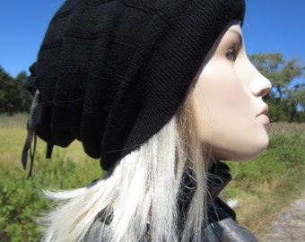 Black Merino Wool Slouchy Beanie Hat Leather Wrap Tie Back Pom Pom A1411