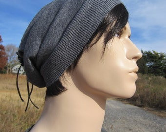 Gray Merino Wool Hats Men's Beanies Grey Slouchy Tam A1001