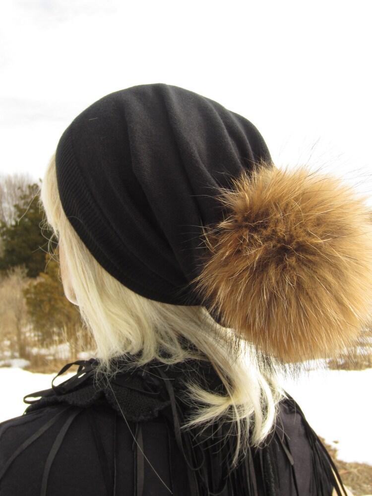 Fur Pom Pom Beanie Black Cashmere Hat Wool Knit By