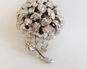 Vintage jewelry brooch by Roget in silver flower wedding brooch