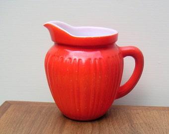 Vintage Orange Milk Glass Creamer Pitcher
