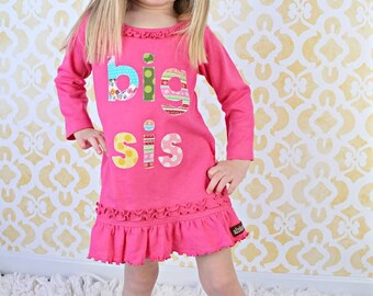 Big Sister Dress, Big Sister Tunic, Pink Shirt, Birth Announcement, Photo Shoot New Pregnancy Sibling Shirts, 18m 24m 3 4 5 6 6x