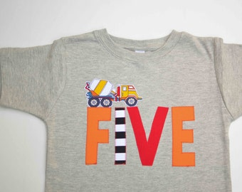 Cement Mixer Shirt for 5th Birthday Party, Ready to Ship, Size 6, Construction Truck Applique Five Tshirt, I am 5 Tshirt, Gray Orange Red