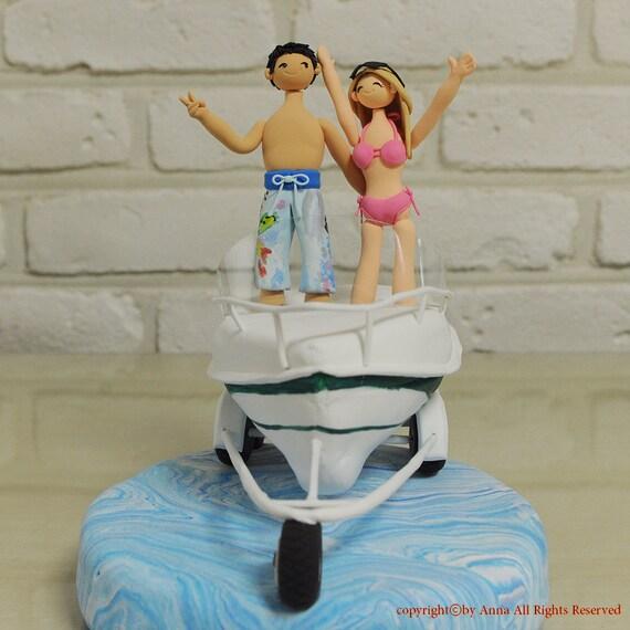 Items similar to boat beach theme wedding cake topper on etsy