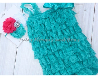 Teal Lace Romper with Teal and Coral Headband SET (Infant, Toddler)