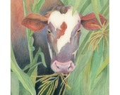 """Cow in field eating corn - """"Little Boy Blue Come Blow Your Horn..."""" - Blank Note Card - Greeting Card, Special Occasion, Just Because"""