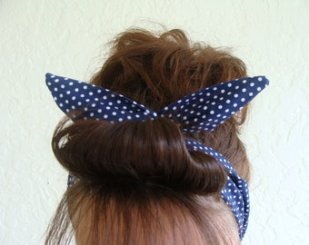 Dolly Bow Wire Headband Navy Blue with Tiny Polka Dots Rockabilly Pin Up Hair Accessory for  Teens Women Girls