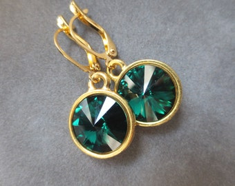 Emerald Jewelry, Gold May Birthstone Earrings, Dangles, Crystal Birthstone Jewelry, Emerald Green Drop Earrings