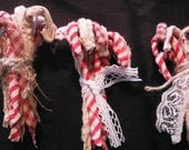 Handmade Candy Canes Primative Candy Canes Christmas Canes Stuffed Decorations Candy Cane Decoration