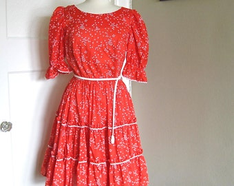 1970s Vintage Pete Bettina Patio Dress, Squaredancing Dress, Country Dress, Red Dress