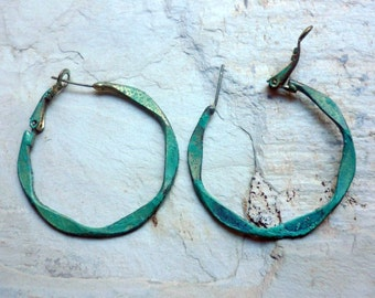 Brass Earrings, Brass and Patina Earrings, Green Patina Earrings, Brass Hoops, Irregular Hoops Earrings, Blue Green Earrings