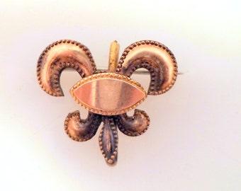 Antique Gold Filled Watch Holder Pin Brooch Fluer de Lis