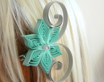 Mint and Gray Wedding Hair Accessory, Bridesmaid Gift, Mint Wedding, Gray Wedding, Bridesmaid Hair Accessories