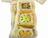 Crochet Headband, Boho Knit Hairband in Ivory White, Florescent Yellow, Mustard & Brown Wool