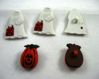 Ghost and Pumpkin Buttons Set of Five