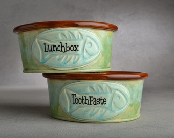Cat Bowl Set Made To Order Personalized Cat Bowls by Symmetrical Pottery
