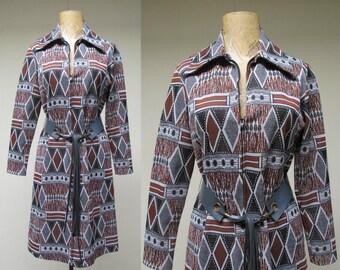 Vintage 1970s Dress / 70s I. MAGNIN Shirtwaist Dress Tribal Print / Medium