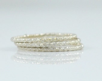 Silver Stack Ring - Faceted Sterling Silver Stacking Rings Made in your size