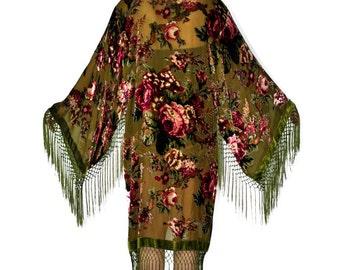 Rambilin' Rose GYPSY Velvet Burnout Kimono-Olive