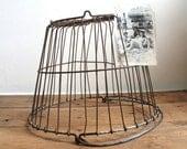 Vintage Rustic Metal Wire Farm Egg Basket