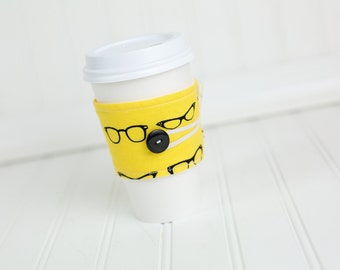 Reusable Fabric Coffee Sleeve, Yellow Nerdy Eye Glasses Print for Girls or Boys
