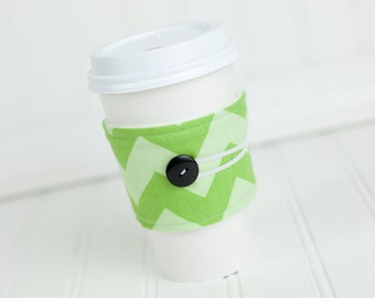 Coffee Sleeve Cozy Green Chevron Print Unisex Reusable Cup Cover