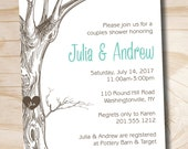 VINTAGE TREE Initials Couples Shower Bridal Shower Invitation - You Print, DIY, Digital File