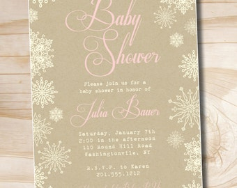 VINTAGE SNOWFLAKE Shabby Chic Baby Shower Invitation - Printable Digital file or Printed Invitations