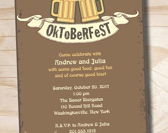 OKTOBERFEST Octoberfest Beer Party Bier Halloween Party Invitation - Printable digital file or printed invitations