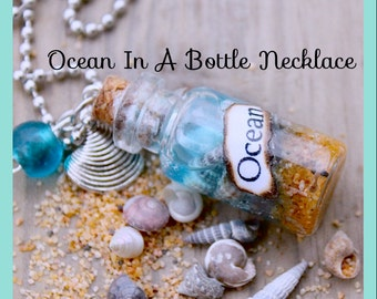 Ocean in a Bottle Necklace, Natural Necklace, Beach Sea Shells 2ml  Vial Glass Bottle Nautical Necklace , Car Charm, By: Tranquilityy