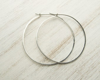 Extra Large Oxid Sterling Silver Hoops, Hammered 20g Wire, Simple Hoop Earrings, Trendy Hoops, Fashion Jewelry, Hand Made, Gift, EAR007
