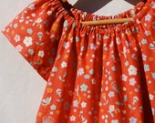 First Birthday - Dress for Girls - Floral Print  Peasant Dress - Coral Eco - Friendly - Organic Clothing