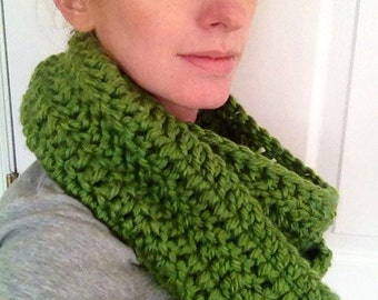 Soft green crochet cowl circle scarf