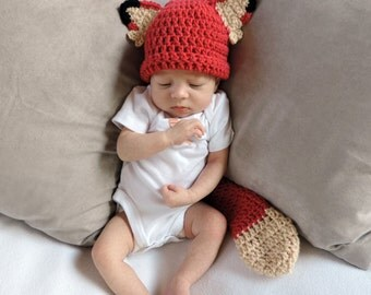 Newborn Infant Fox Beanie Halloween Hat and Tail Set - Made to Order Baby Accessories by Julian Bean