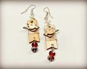 Wire Wrapped Wooden Pennant Earrings with Birds and Purple Beads