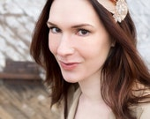 Beaded Feather Fascinator with Red and Peach Accents - Princessa
