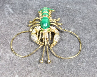 Awesome Vintage Enamel Rhinestone Lobster Pin Brooch