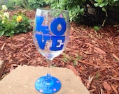 Louisiana State Love Painted Wineglass