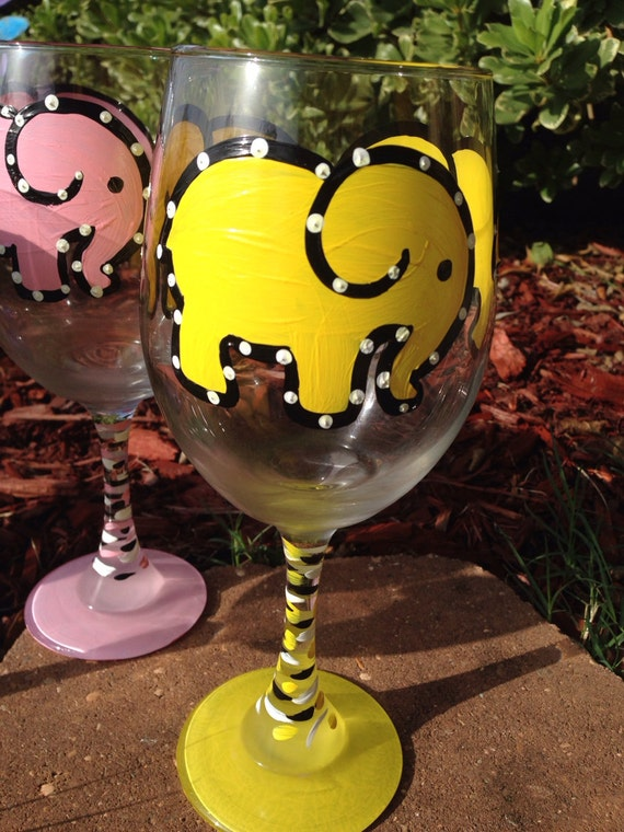 Yellow Elephant Painted Wine glass