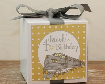 8 - Train Party Favor Boxes / Cupcake Boxes - Train Label - ANY COLOR -  kids party cupcake box, boys party favor box