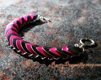Pink Punk Scale Mail Bracelet *CLEARANCE