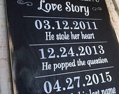 Personalized Love Story wooden sign completely painted by Dressingroom5 for wedding, anniversaries